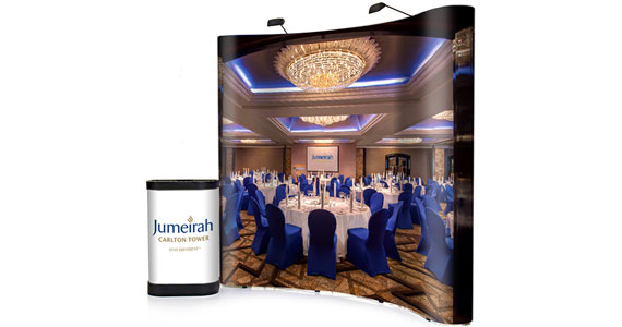 Jumeirah enlisted our services to produce this pop-up stand and wheelie bin graphic to highlight their exceptional dining facilities. We have also produced a series of pull-up and pop-up banners for this leading hotel company.