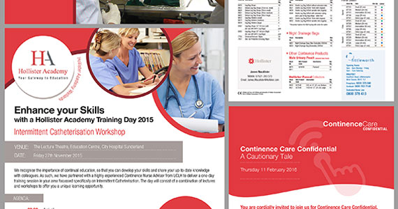Our work for Hollister involves both design and print. We regularly produce leaflets, invites, brochures, product guides and even DVD sleeves for this leading medical company.